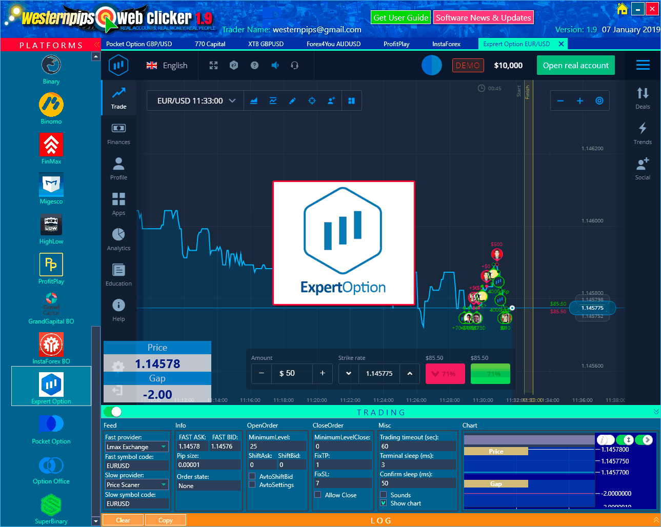 Web Clicker Forex & Binary Option Bot Auto Trading Arbitrage Platform